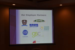 Screen displaying participating companies in the Positioning Women for Success Project in Windsor-Essex