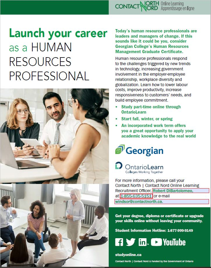 Human Resources Professionals Courses at Contact North Flyer
