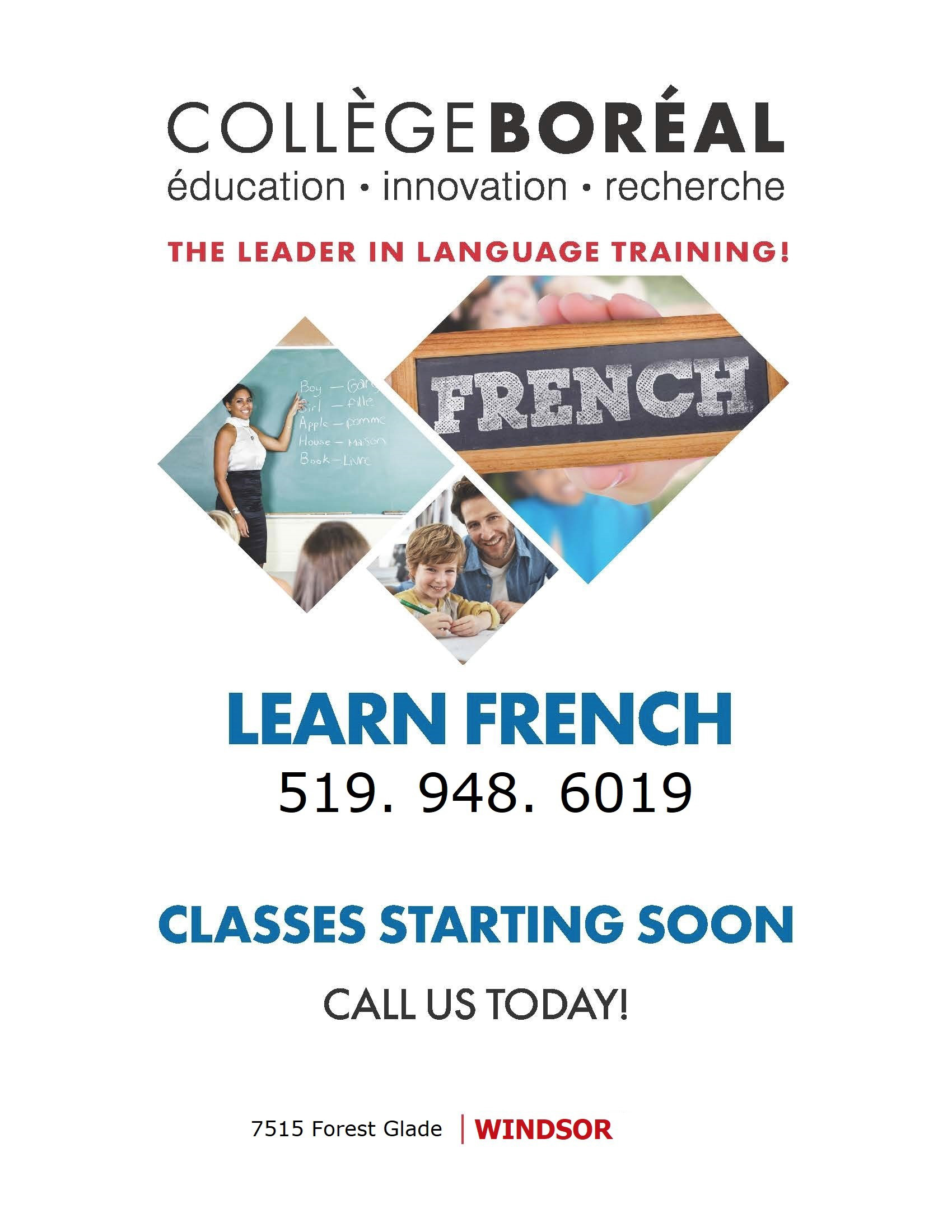 College Boreal Learn French Flyer
