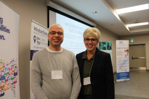 WE LIP Connector Michelle Suchiu poses with attendee at the Windsor-Essex Express Entry Event for Employers