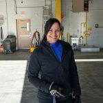 Forklift operator posing