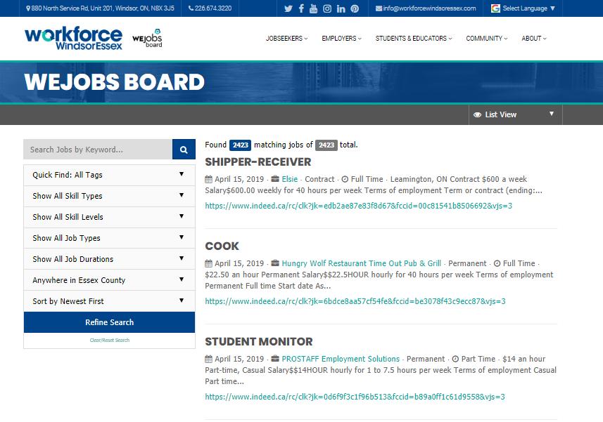 WEjobs Job Board | Workforce WindsorEssex