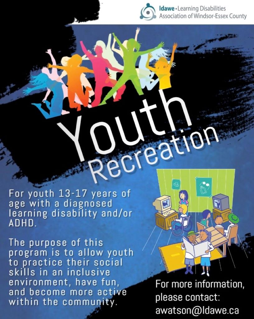 Youth Recreation Flyer for ages 13 to 17 with a learning disability