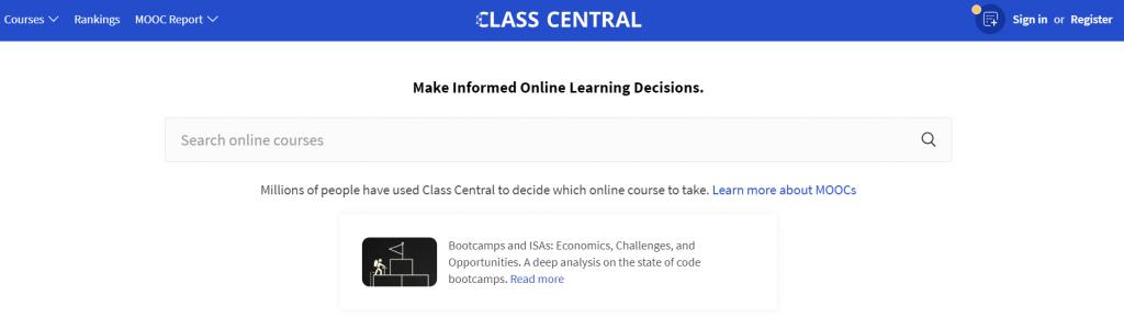 Class Central website screenshot