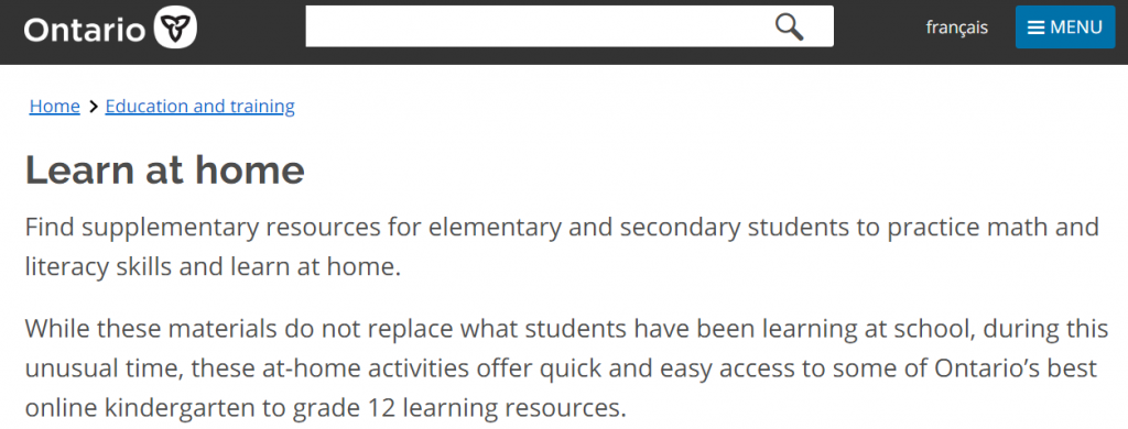 Government of Ontario Learn At Home website screenshot
